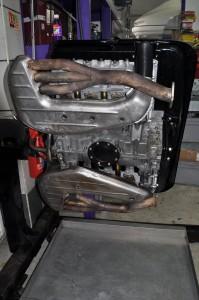 Underside of engine showing SSI heat exchangers