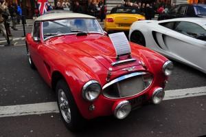 Rally prepared Austin Healey 3000. Regent Street Motor Show - Nov 2012.
