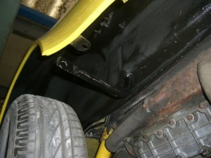 Rear underside of the car around engine
