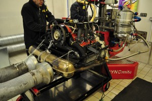 Engine plugged into BS Motorsport dyno - an Intensive Care unit for Porsche engines!