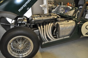 Beautifully crafted exhaust system on Tojeiro Jaguar